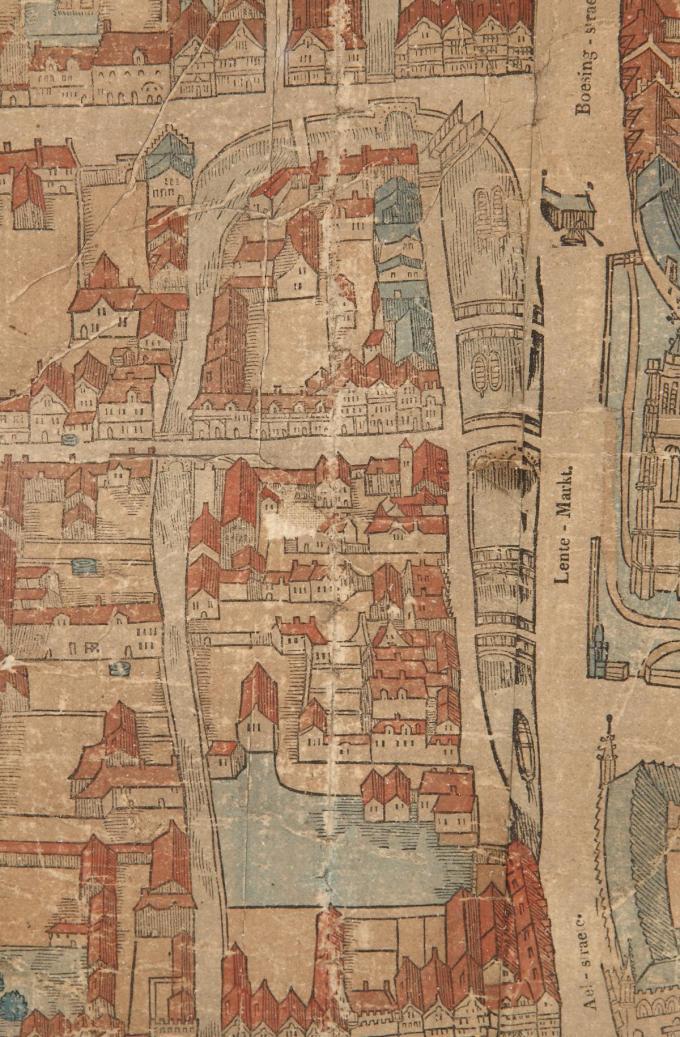 Dit stadsplan toont hoe de Leet - dat toen nog de Lentemarkt heette - er rond 1550 uit zag. Rechts bovenaan zie je de laad- en loskraan langs de kade van de Ieperlee.© Yper Museum