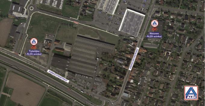 De tijdelijke winkel van ALDI komt iets verderop in de Ambachtenstraat, de oude en straks nieuwe winkel situeren zich in de Krekelmotestraat recht tegenover Frunpark.