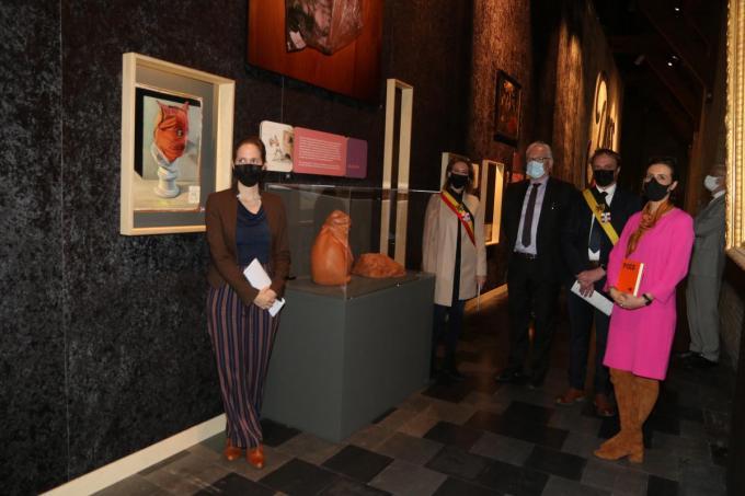 De tentoonstelling werd geopend in aanwezigheid van Paul Vandendriessche, de vertegenwoordiger van minister-president Jan Jambon, burgemeester Emmily Talpe, schepen Dimitri Soenen en Sandrin Coorevits.© EF