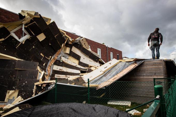 Stormschade in Torhout op 13 maart 2021©KURT DESPLENTER BELGA