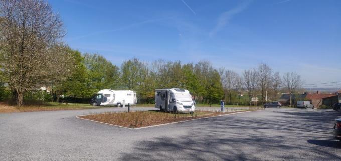 Het kampeerautoterrein op het Vital Moreelsplein in Tiegem.© Dienst Toerisme Anzegem
