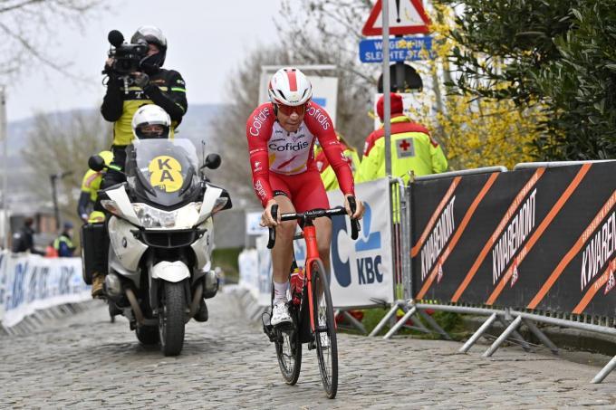 Jelle Wallays, op de foto in de aanval in de Ronde van Vlaanderen, liet zich dit voorjaar vaak opmerken.©DIRK WAEM Belga