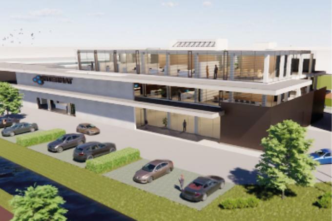 Zo zou het nieuwe state-of-the-art gebouw in Wielsbeke eruitzien.© foto Intermat