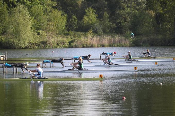 Na anderhalf jaar was er nog eens een selectietest op het water.© Vlaamse Roeiliga