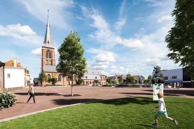 Het standbeeld van de beer verhuist, zodat hij van het gemeentehuis uitkijkt over de nieuwe Markt.© gf