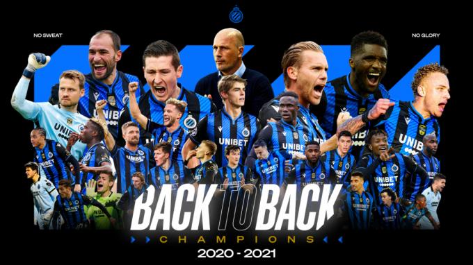 Club Brugge is voor de tweede keer op rij kampioen.© Club Brugge
