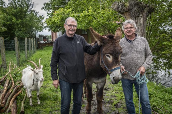Piet en Paul Ternest met hun ezel Berry. (foto SB)© Stefaan Beel
