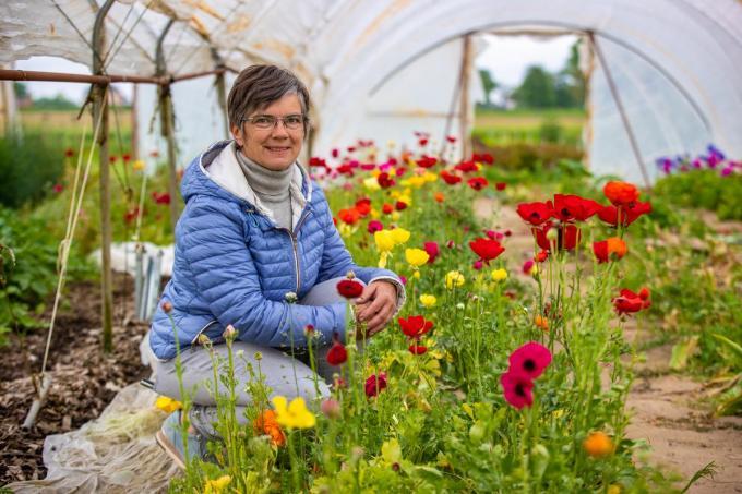 Martine Opsomer in de bloemenpluktuin in de belevingsboerderij Herenthoeve, gelegen langs de Flower Power-route.© Foto Kurt