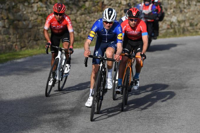 Mauri Vansevenant bewees dit jaar dat hij bergop mee kan met de besten. Hier tijdens de GP Industria e Artigianato met Nairo Quintana en Mikel Landa.© Getty Images