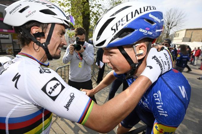 Mauri Vansevenant kreeg het afgelopen voorjaar heel wat complimenten van zijn ploegmaat, regerend wereldkampioen Julian Alaphilippe.© BELGA