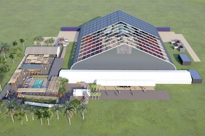 De Proximus Pop-Up Arena bevindt zich in het Vrijetijdspark aan de Westendelaan. (foto LC)