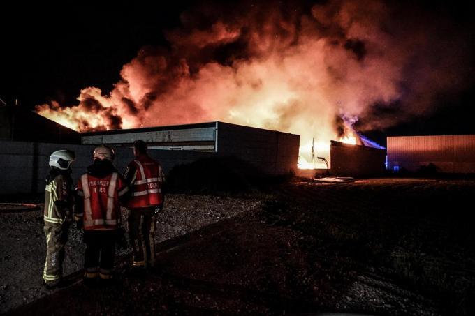 Fluvia schakelde zo'n 120 manschappen in om het vuur onder controle te krijgen. Omstreeks 1 uur lukte dat uiteindelijk toch.© CLL