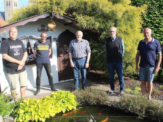 Het herdenkingscomité van het Masolum met Yves Durnez, Bjorn Rivière, Yves Dupont, Hendrik Rivière en Gilbert Pauwels. (foto WO)©wilfried Ossieur