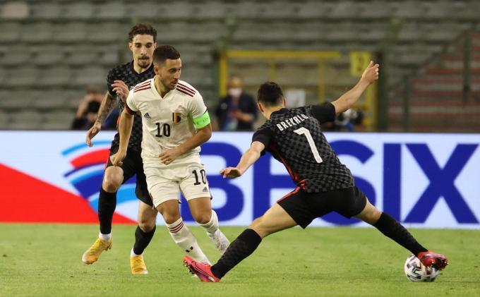 Eden Hazard kreeg nog 9 minuutjes speeltijd mee, zijn eerste cap sinds november 2019.© BELGA
