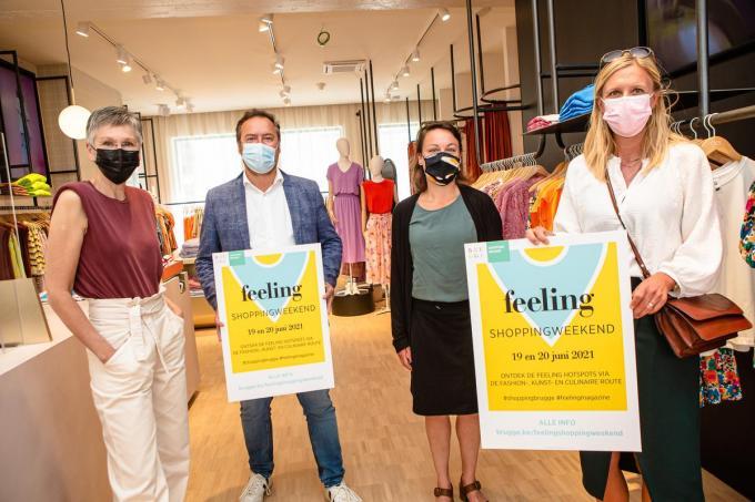 Veronique De Vreese, Pablo Annys, Sofie Verheye en Ilse Snick stellen het Feeling shoppingweekend voor.© Davy Coghe