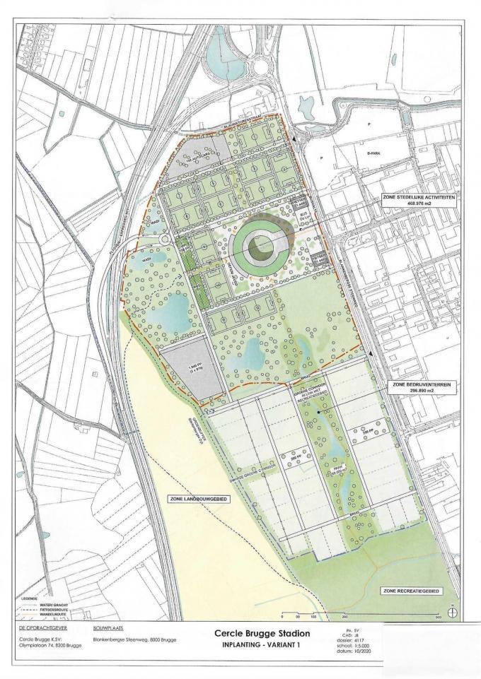 Cercle Brugge vroeg aan een architect en een aannemer plannen uit te tekenen voor een kleiner stadion langs de Blankenbergse Steenweg. Zo ziet het ontwerp er in detail uit, met ruimte voor groen en oefenvelden. (gf)
