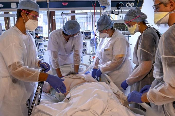 Verplegers en dokters behandelen een coronapatiënt op de dienst intensieve zorgen. Het aantal mensen dat opgenomen wordt met het virus daalt zienderogen, ook in onze provincie.© BELGA