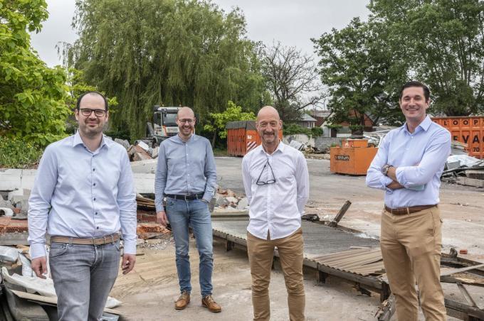 Simon Alleman (All-Bouw), Pieter Verfaillie (bow architecten), Geert Clierinck en Andreas Verheye (Standplus).©Stefaan Beel