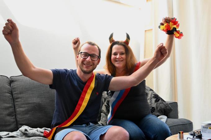 Alleen bij slecht weer supporteren Stijn en Katja straks thuis vanuit de zetel.© WVH