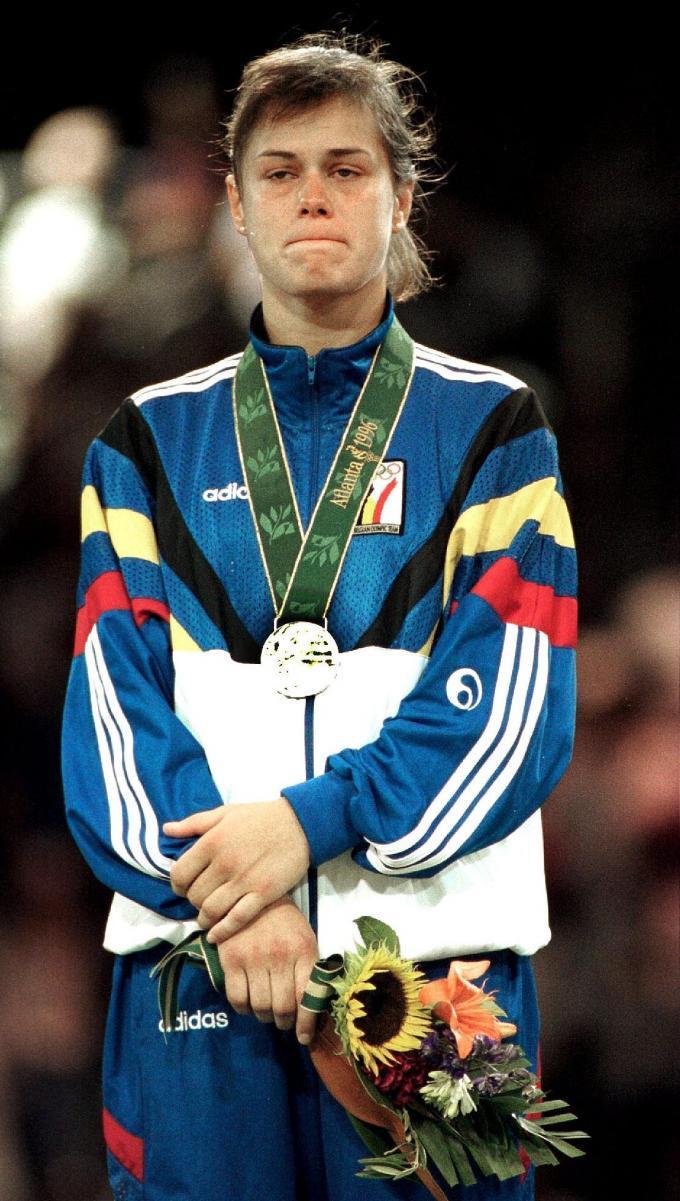 Gella won zilver op de Olympische Spelen in Atlanta in 1996 maar is duidelijk teleurgesteld.© BELGA