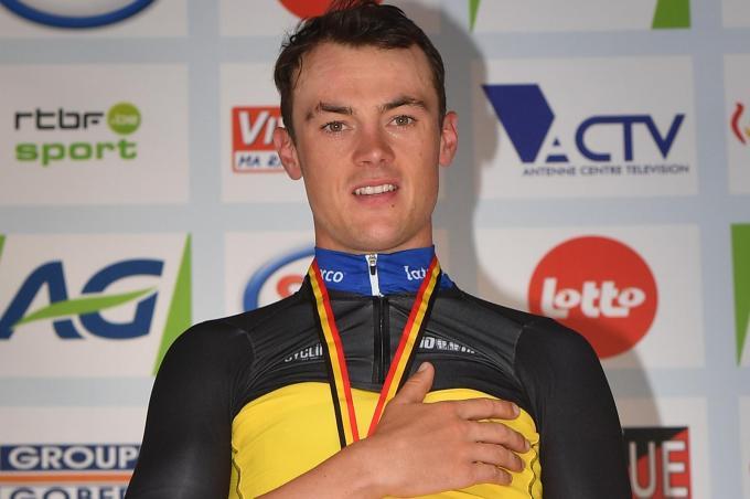 Yves Lampaert, in 2018 al Belgisch kampioen op de weg in Binche.© BELGA