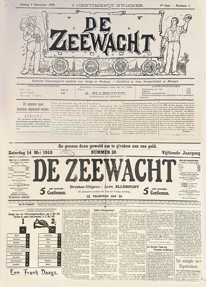De frontpagina van de allereerste editie van De Zeewacht, een van de vijf lokale kranten bij De Krant van West-Vlaanderen. Eind dit jaar bestaat ze 125 jaar. (gf)