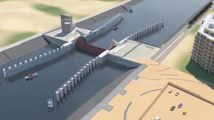 De stormvloedkering in Nieuwpoort zal pas in 2025 klaar zijn. (foto agentschap Maritieme Dienstverlening en Kust)