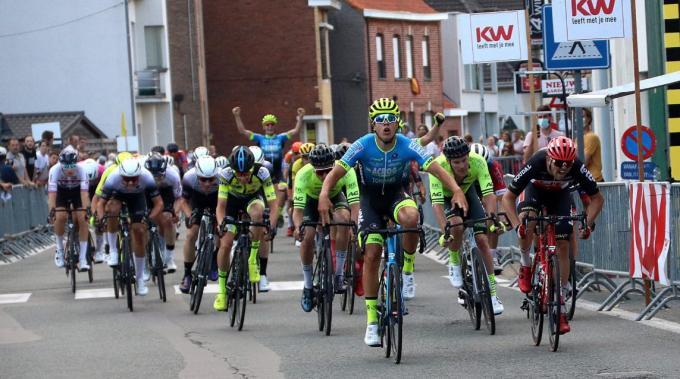 Gianluca Pollefiet toonde zich sneller dan Jente Boons en Benjamin Verraes.© WO