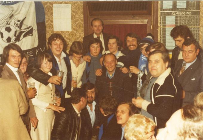 De opening van de supportersavond in 1976 met Lajos Ku van Club Brugge.