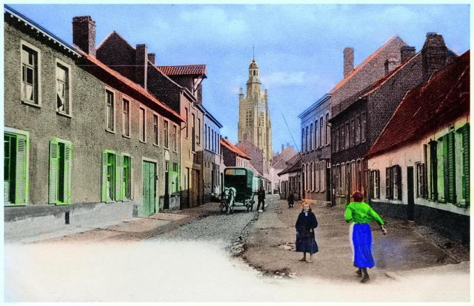 Met paard en kar in de Rue du Lait Battu.