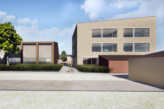 Zo zal de nieuwbouw eruitzien vanaf de hoofdingang aan de kerk: links de sportzaal en rechts het volledig uitgeruste klassenblok met drie bouwlagen.