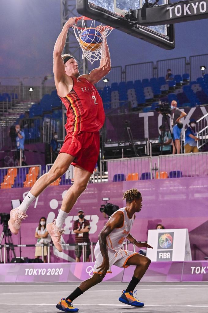 De mannelijke 3x3-ploeg, op de foto zien we Thibaut Vervoort, behaalde een knappe vierde plaats op de Spelen in Tokio.