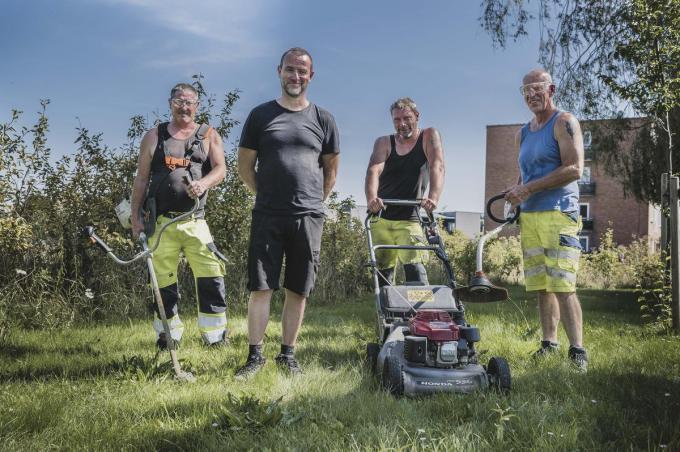 Mario Halewyn, Steven Delombaerde, Dimitri Dekemel en Bart Degryse van de Izegemse groendienst.