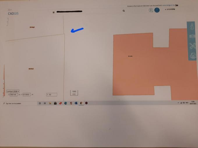 Op dit plan is te zien hoe de perceelsgrens was getekend. Je ziet duidelijk de uitsprong van perceel B543A2, waar Karl Seynaeve woont.