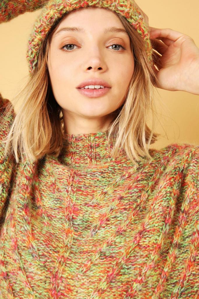 Trui in veelkleurige wol (159 euro), van Hampton Bays.