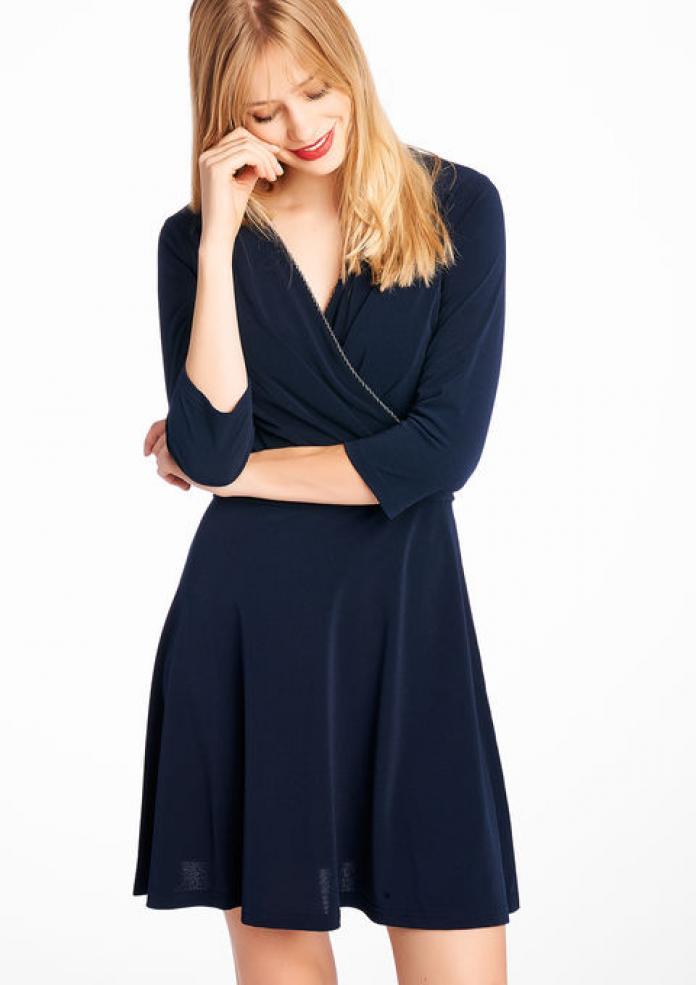 c5624990eb114e Marineblauwe effen cachecoeur jurk met 3 4 mouwen (€ 20 – shop hier)