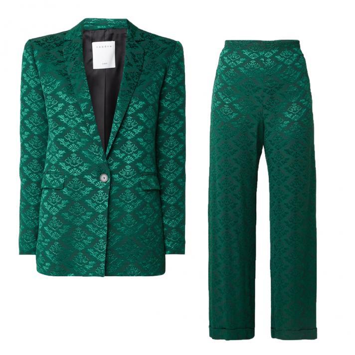 Tailleur en jacquard vert émeraude Sandro