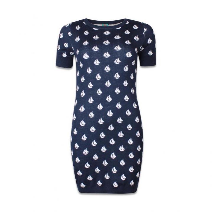 Blauwe jurk met print