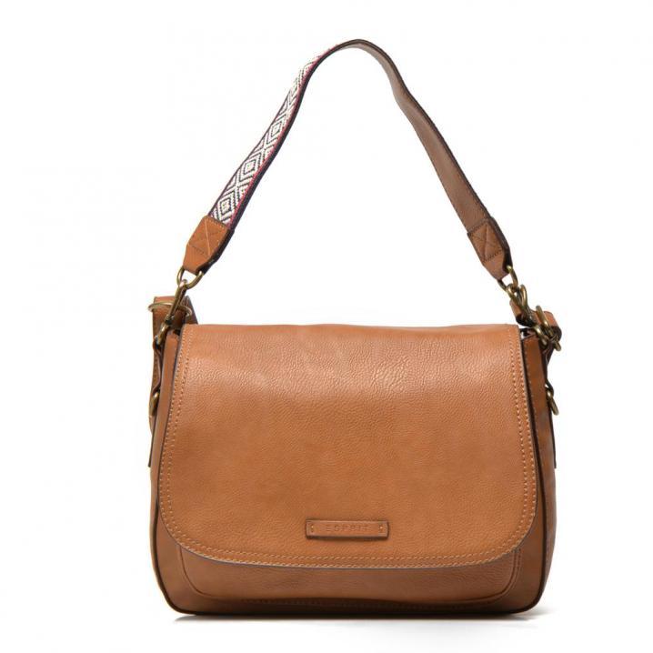Bruine tas met detail aan de schouderband