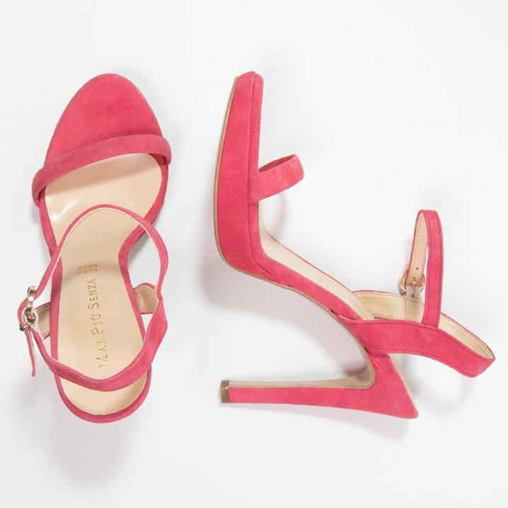 Koraalroze sandalen met hak