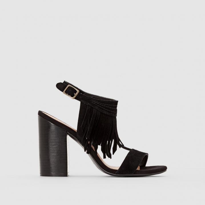 Zwarte sandalen met franjes