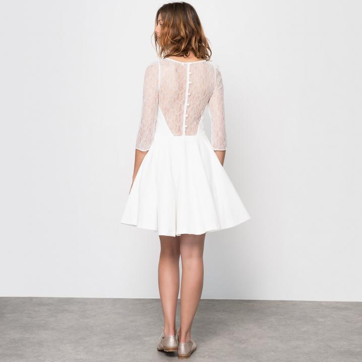 Witte jurk met transparant rugstuk