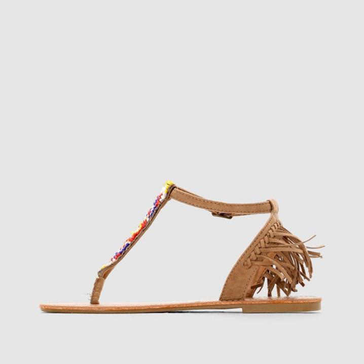 Beige sandaal met kralen