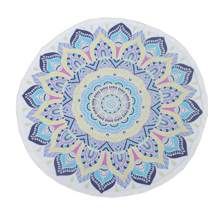 BaliTowel Mandala Handdoek Rond - Blue