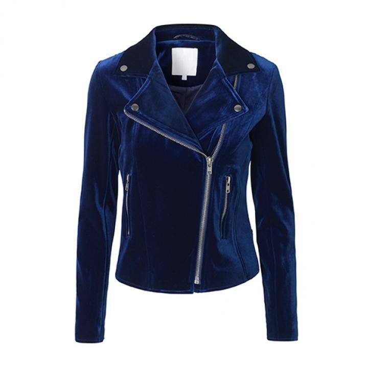 Kobaltblauwe biker jacket