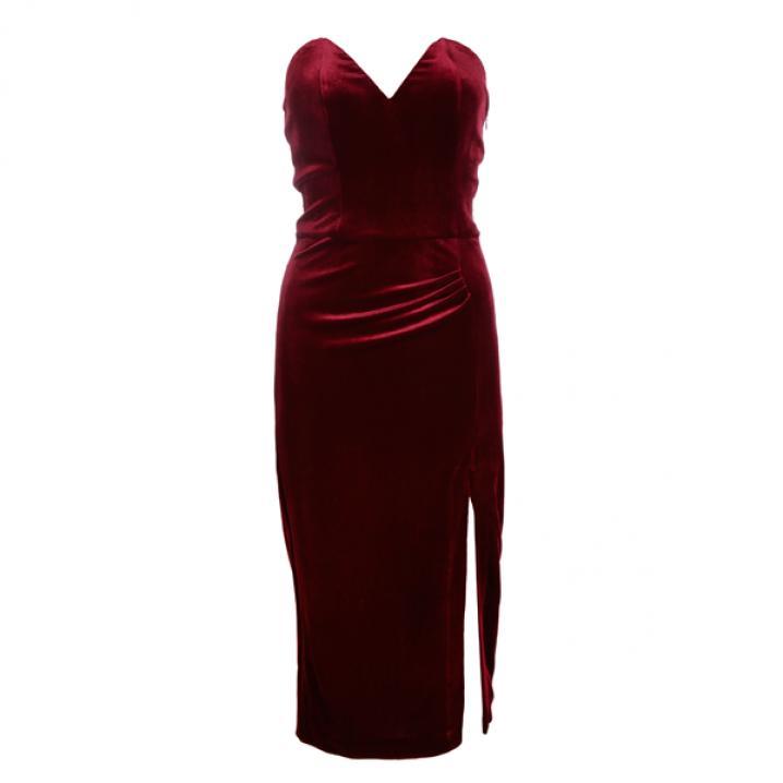 Rode fluwelen jurk