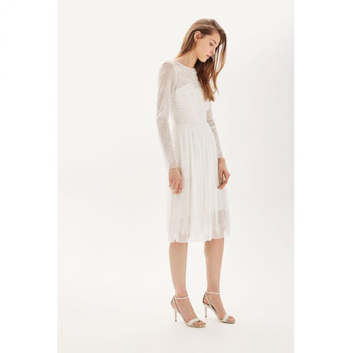 Tulle midi-jurk met lange mouwen