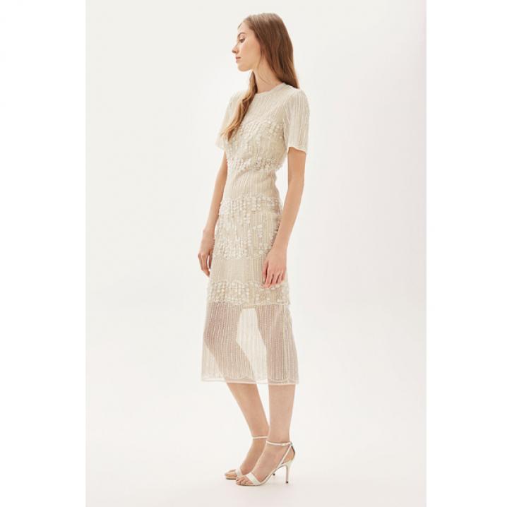 Retro midi-jurk met geborduurde parels