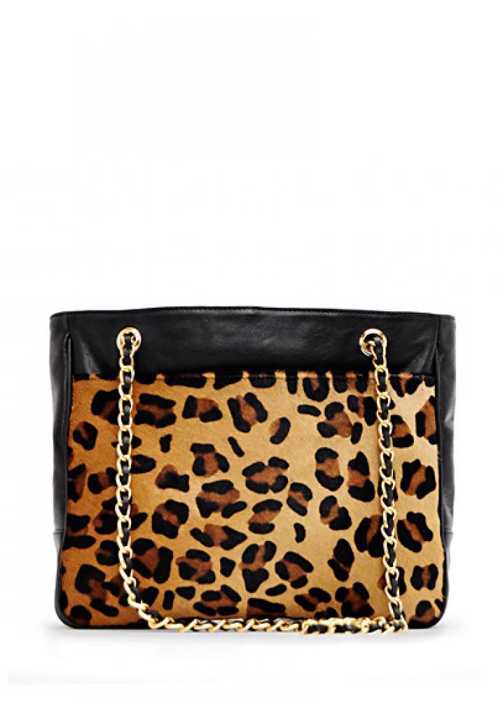 Leopard print leather shopper 8995