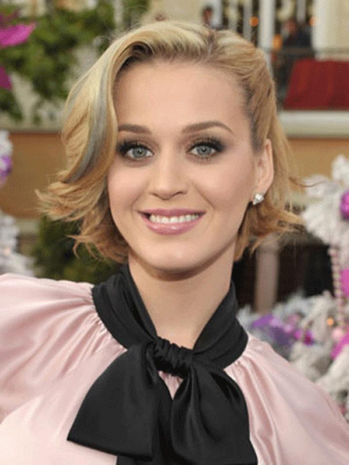 Katy Perry a aussi choisi un carrà© rà©tro mais a ajoutà© des mà¨ches argentà©es pour le fun